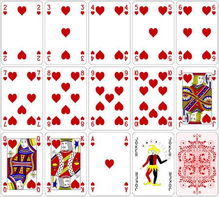 jeu de carte: Cartes de poker coeur fix� quatre couleurs design classique 600 dpi Illustration