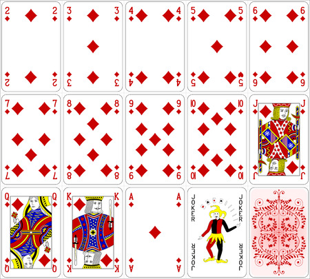 queen of diamonds: Poker cards diamond set four color classic design 600 dpi