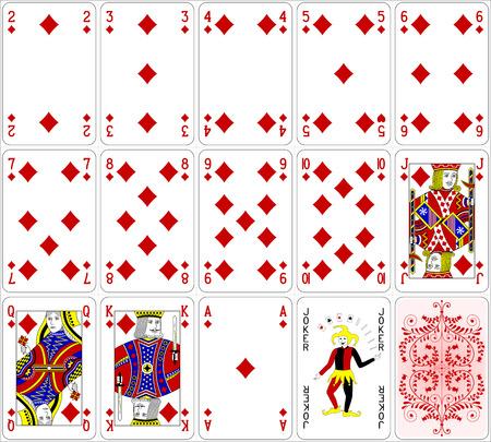Poker cards diamond set four color classic design 600 dpi