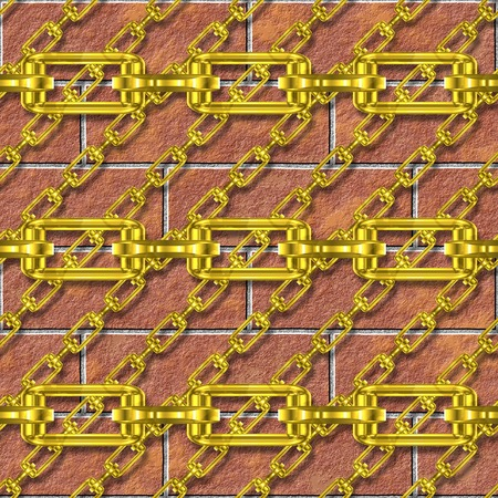 festoons: Iron chains with brick wall seamless texture