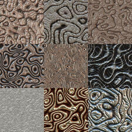 metal textures: Set of metal bumps seamless generated textures Stock Photo