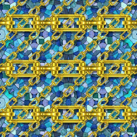 festones: Cadenas de hierro con textura de mosaico sin fisuras Foto de archivo
