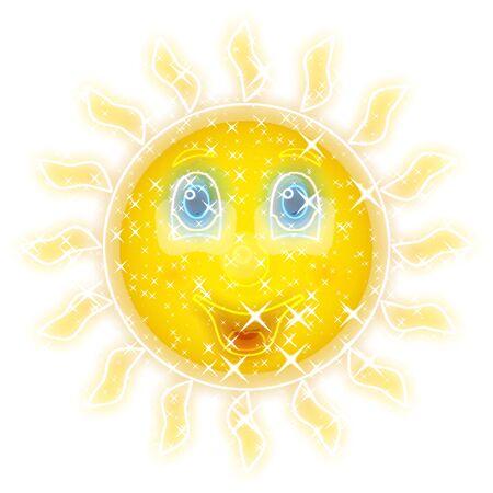 smiling sun: Smiling sun glowing background Stock Photo
