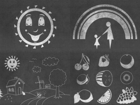 bill board: Set of chalkboard drawings Stock Photo