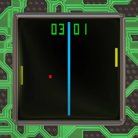 lcd screen: LCD screen with retro style game generated texture Stock Photo