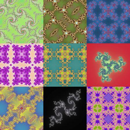 fantastical: Set of fractal floral patterns Stock Photo