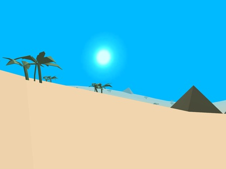 pyramid of the sun: Low poly retro style desert
