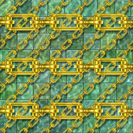 fetter: Iron chains with glazed tiles seamless texture
