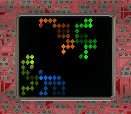 semiconductors: LCD screen with retro style game generated texture Stock Photo
