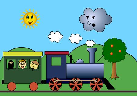 boxcar: Steam train on road