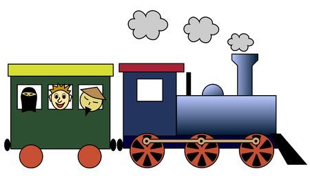tren caricatura: Tren de vapor