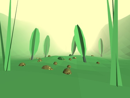 yellow hills: Low poly retro style bug world