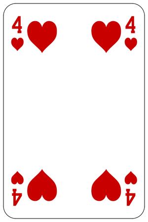 Poker playing card 4 heart