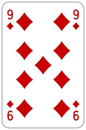 royal house: Poker playing card 9 diamond Illustration