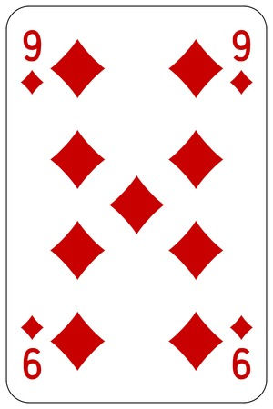 Poker playing card 9 diamond Stock Illustratie