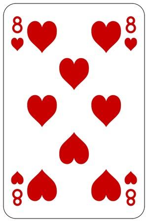 Poker playing card 8 heart 일러스트