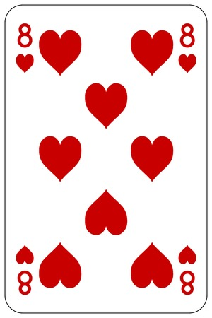 Poker playing card 8 heart Stock Illustratie