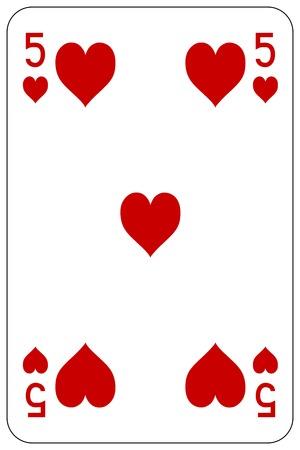 Poker playing card 5 heart