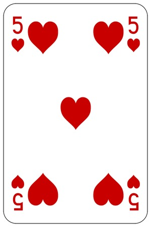 Poker playing card 5 heart