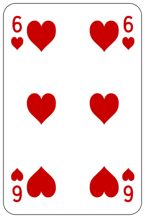 Poker playing card 6 heart Stock Vector - 45128551