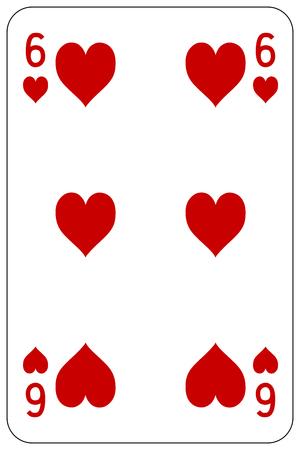 Poker Spielkarte 6 Herzen Standard-Bild - 45128551