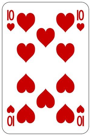 Poker playing card 10 heart 일러스트