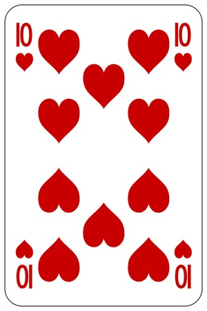 deck of cards: Poker playing card 10 heart Illustration
