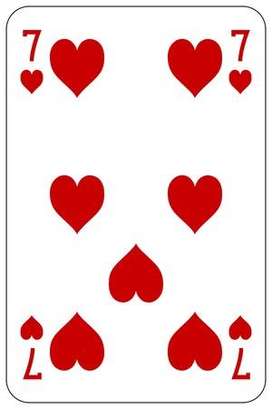 Poker playing card 7 heart 일러스트