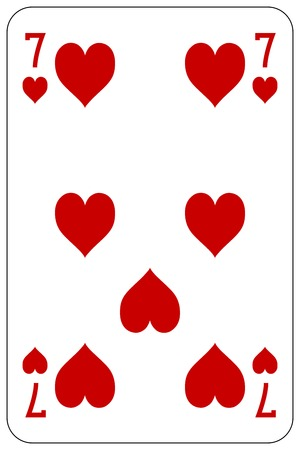 Poker playing card 7 heart Stock Illustratie