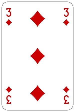 Poker playing card 3 diamond Illustration
