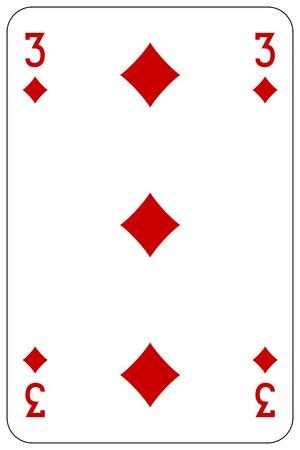 Poker Spielkarte 3 Diamanten Standard-Bild - 45128573