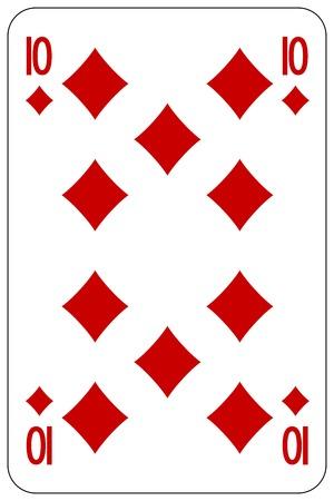 Poker playing card 10 diamond