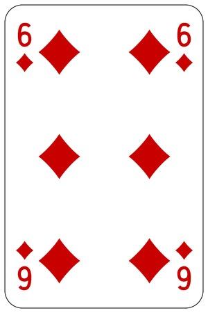 Poker playing card 6 diamond 일러스트