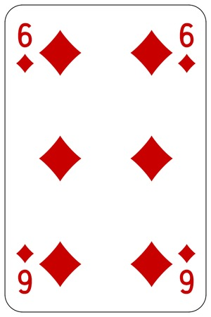 Poker playing card 6 diamond Illustration