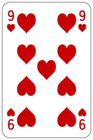 deck of cards: Poker playing card 9 heart