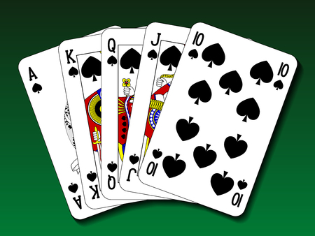 royal flush: Poker hand - Royal flush spade Illustration
