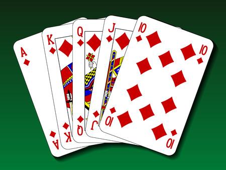 flush: Poker hand - Royal flush diamond Illustration