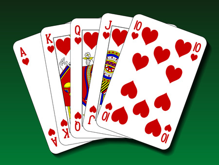 ace of spades: Poker hand - Royal flush heart