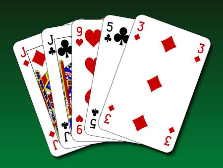 poker hand: Poker hand - One pair Illustration