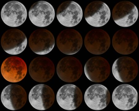moon eclipse: Moon eclipse phases Stock Photo