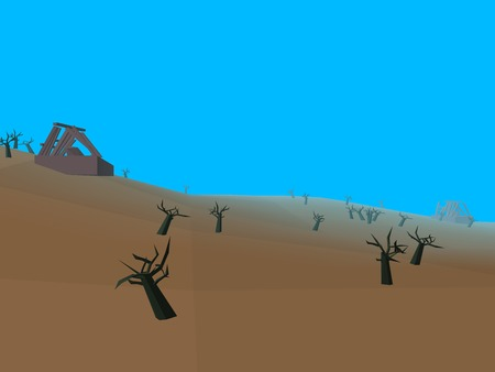 barren: Low poly retro style moorland
