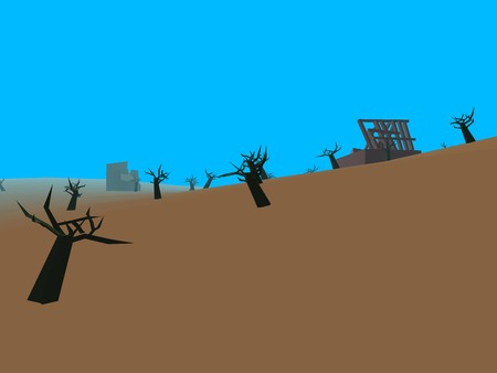 wasteland: Low poly retro style moorland