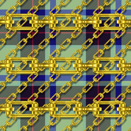 festoons: Iron chains with tartan seamless texture