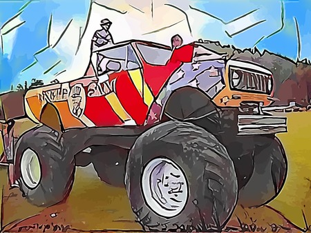 monster truck: Monster truck abstract drawing Stock Photo