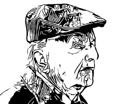 ink illustration: Old man silhouette