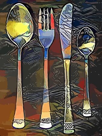 dinner: Cutlery set drawing