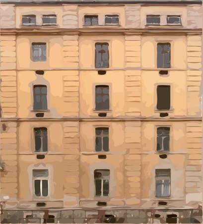 prefab: Old four storey house vector texture