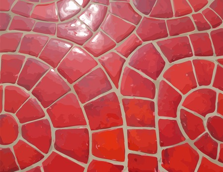glazed: Glazed red stone vector mosaic texture Illustration