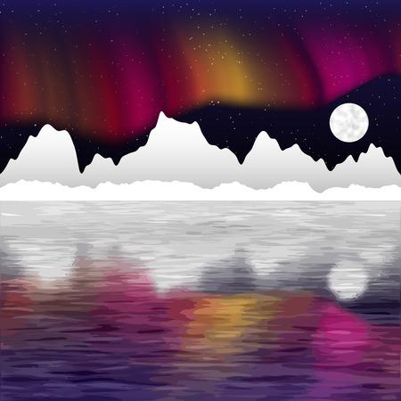 borealis: Arctic pole landscape with aurora borealis