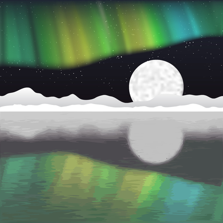 arctic: Arctic pole landscape with aurora borealis